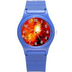Tree Trees Silhouettes Silhouette Round Plastic Sport Watch (S)