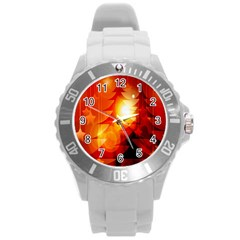 Tree Trees Silhouettes Silhouette Round Plastic Sport Watch (l)