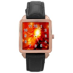 Tree Trees Silhouettes Silhouette Rose Gold Leather Watch