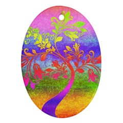 Tree Colorful Mystical Autumn Ornament (oval)