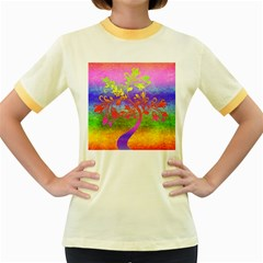 Tree Colorful Mystical Autumn Women s Fitted Ringer T-Shirts