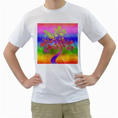 Tree Colorful Mystical Autumn Men s T-Shirt (White) (Two Sided)