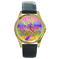 Tree Colorful Mystical Autumn Round Gold Metal Watch