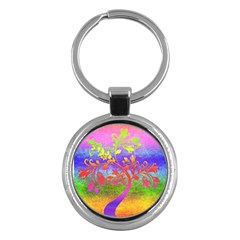 Tree Colorful Mystical Autumn Key Chains (Round)