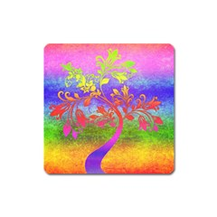 Tree Colorful Mystical Autumn Square Magnet