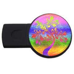 Tree Colorful Mystical Autumn Usb Flash Drive Round (2 Gb)