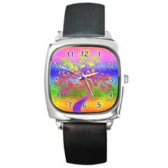 Tree Colorful Mystical Autumn Square Metal Watch