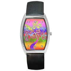 Tree Colorful Mystical Autumn Barrel Style Metal Watch