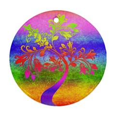 Tree Colorful Mystical Autumn Round Ornament (Two Sides)