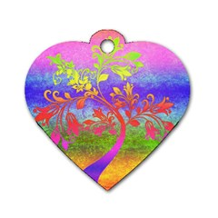 Tree Colorful Mystical Autumn Dog Tag Heart (Two Sides)