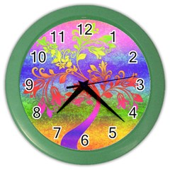 Tree Colorful Mystical Autumn Color Wall Clocks