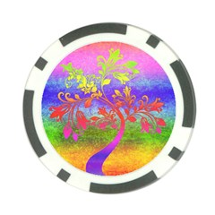 Tree Colorful Mystical Autumn Poker Chip Card Guard
