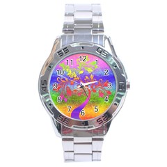 Tree Colorful Mystical Autumn Stainless Steel Analogue Watch
