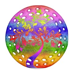 Tree Colorful Mystical Autumn Round Filigree Ornament (Two Sides)