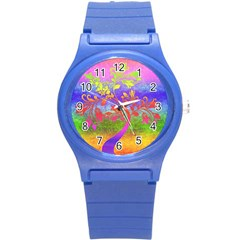 Tree Colorful Mystical Autumn Round Plastic Sport Watch (S)