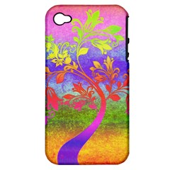Tree Colorful Mystical Autumn Apple Iphone 4/4s Hardshell Case (pc+silicone)