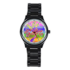 Tree Colorful Mystical Autumn Stainless Steel Round Watch