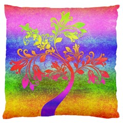 Tree Colorful Mystical Autumn Large Flano Cushion Case (two Sides)
