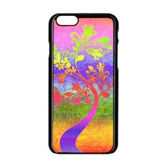 Tree Colorful Mystical Autumn Apple iPhone 6/6S Black Enamel Case