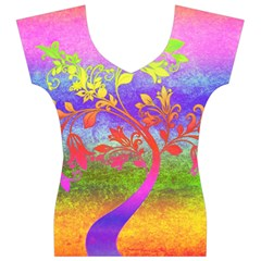 Tree Colorful Mystical Autumn Women s V-Neck Cap Sleeve Top