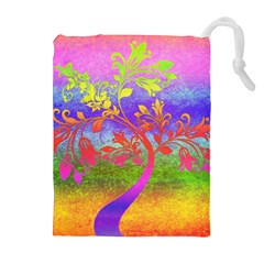 Tree Colorful Mystical Autumn Drawstring Pouches (Extra Large)