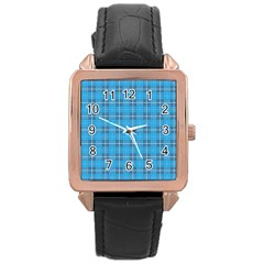The Checkered Tablecloth Rose Gold Leather Watch
