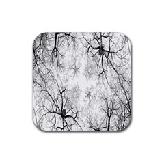 Tree Knots Bark Kaleidoscope Rubber Square Coaster (4 pack)