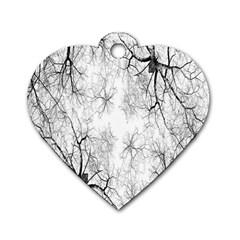 Tree Knots Bark Kaleidoscope Dog Tag Heart (One Side)