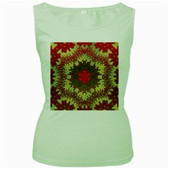 Tile Background Image Color Pattern Women s Green Tank Top