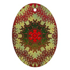 Tile Background Image Color Pattern Oval Ornament (two Sides)