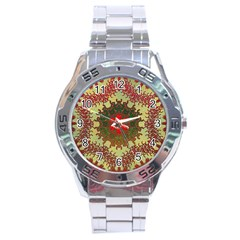 Tile Background Image Color Pattern Stainless Steel Analogue Watch