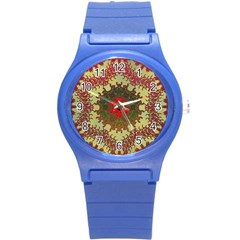 Tile Background Image Color Pattern Round Plastic Sport Watch (S)