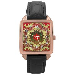 Tile Background Image Color Pattern Rose Gold Leather Watch