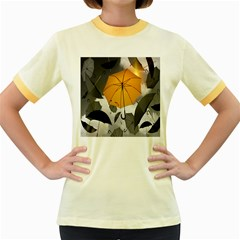 Umbrella Yellow Black White Women s Fitted Ringer T-Shirts