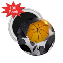 Umbrella Yellow Black White 2.25  Magnets (100 pack)