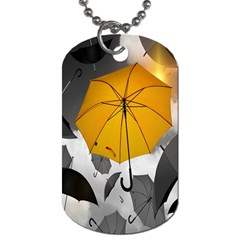 Umbrella Yellow Black White Dog Tag (one Side)