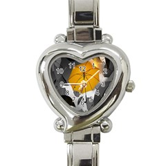 Umbrella Yellow Black White Heart Italian Charm Watch