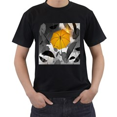 Umbrella Yellow Black White Men s T-Shirt (Black) (Two Sided)
