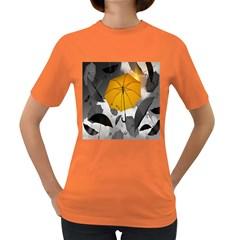 Umbrella Yellow Black White Women s Dark T-Shirt