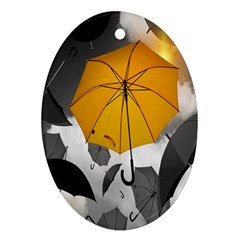Umbrella Yellow Black White Oval Ornament (Two Sides)
