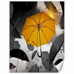 Umbrella Yellow Black White Canvas 12  x 16