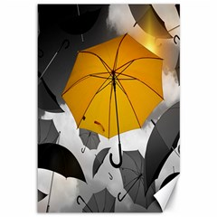 Umbrella Yellow Black White Canvas 12  X 18