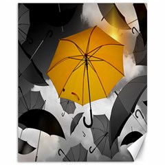 Umbrella Yellow Black White Canvas 11  x 14