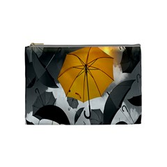 Umbrella Yellow Black White Cosmetic Bag (Medium)