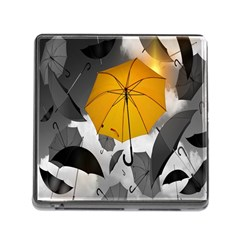 Umbrella Yellow Black White Memory Card Reader (Square)