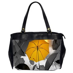 Umbrella Yellow Black White Office Handbags (2 Sides)