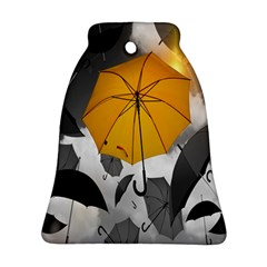 Umbrella Yellow Black White Bell Ornament (two Sides)