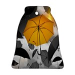 Umbrella Yellow Black White Bell Ornament (Two Sides) Front