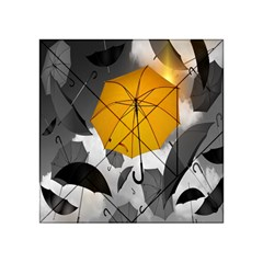 Umbrella Yellow Black White Acrylic Tangram Puzzle (4  x 4 )
