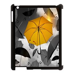 Umbrella Yellow Black White Apple iPad 3/4 Case (Black)
